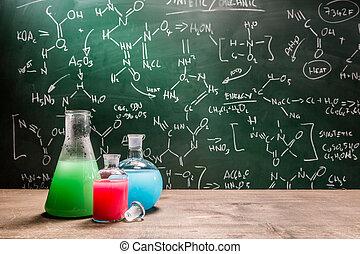 testning, färsk, kemiska reaktioner, in, skola, laboratorium