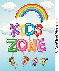 testo, bambini, zona, logotipo