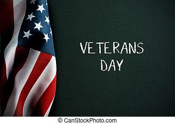 testo, bandiera, veterani, americano, giorno