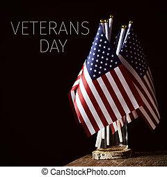 testo, bandierine americane, giorno, veterani