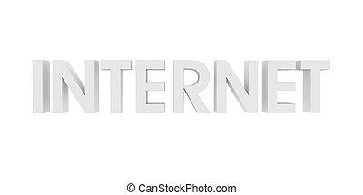 testo, bianco, 3d, internet