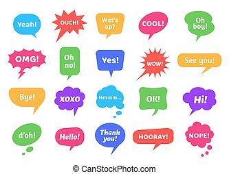 testo, bolle, vuoto, chiacchierata, frasi, etichette, collezione, messaggi, colorito, moderno, differente, labels., vettore, nubi, adesivi, discorso, astratto, scarabocchiare, bolla, icone, set., pensiero