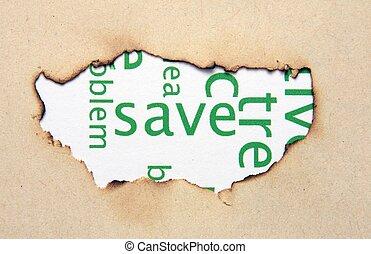 testo, buco, carta, risparmiare