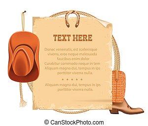 testo, carta, vecchio, americano, lasso., cappello, vettore, cowboy, occidentale