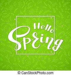 testo, ciao, primavera, su, sfondo verde