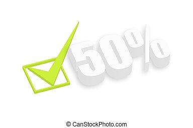testo, cinquanta, percento, 3d