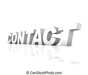 testo, contatto, 3d, vuoto