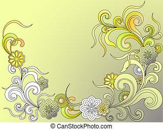 testo, cornice, fiori