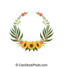 testo, cornice, ghirlanda, girasoli, illustrazione, foglie, fondo., vettore, posto, floreale, fiori bianchi, cerchio