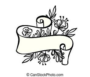 testo, cornice, vacanza, tatuaggio, vendemmia, tropicale, fondo, nastro, stampa, disegnato, bianco, illustrazione, mano, matrimonio, fiori, bandiera, scheda, foglie, augurio, vettore, posto, o