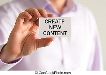 testo, creare, contenuto, presa a terra, nuovo, uomo affari, scheda