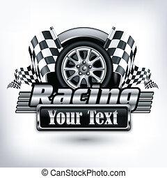 testo, da corsa, emblema, &, bianco