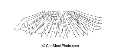 testo, design., vettore, always, 3d, stile, illustrazione, mai, calligraphic
