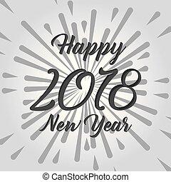 testo, disegno, 2018, anno, nuovo, felice, scheda, celebrazione