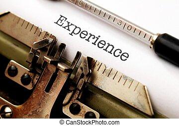 testo, esperienza, macchina scrivere