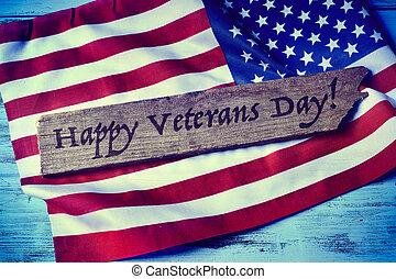 testo, felice, giorno veterani, e, il, segnalatore stati uniti