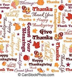 testo, felice, typographic., seamless, dare, ringraziamento, vettore, benedizioni, ringraziamento, pattern.