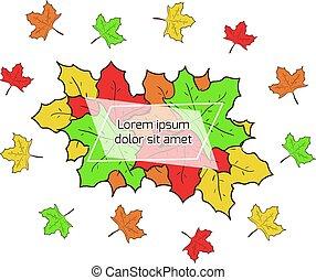 testo, foglie, autunno, posto, cornice, acero