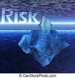 testo, galleggiante, iceberg, rischio, oceano