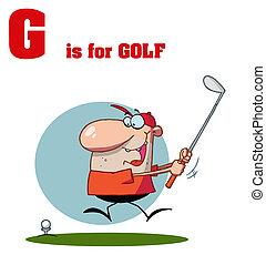 testo, giocatore golf maschio, g, golf
