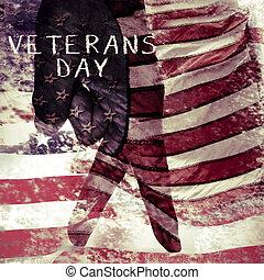 testo, giorno veterani, e, segnalatore stati uniti, doppia esposizione