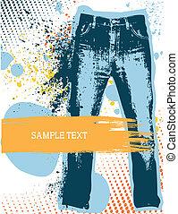 testo, gunge, vettore, fondo., jeans denim