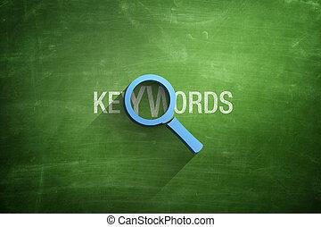 testo, illustrazione, vetro, keywords, ingrandendo, 3d