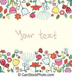 testo, illustrazione, vettore, fiori, placeholder, scheda