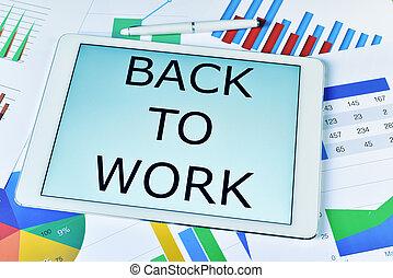 testo, indietro, lavorare, in, uno, tavoletta, computer