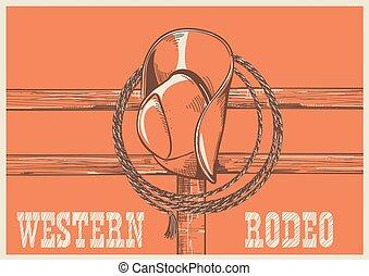 testo, laccio, ovest americano, legno, illustrazione, cappello, vettore, cowboy, fence.