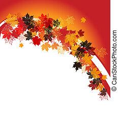 testo, leaf., autunno, frame:, posto, here., tuo, acero