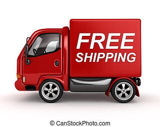 testo, libero, spedizione marittima, rosso, furgone, 3d