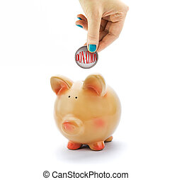 testo, mano, donazione, depositare, piggy, banca moneta