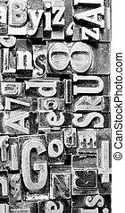 testo, metallo, tipografia, composto, obsoleto, torchio tipografico, tipo