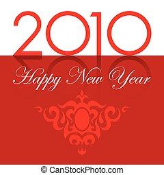 testo, ornamento, anno, nuovo, 2010, rosso, felice