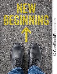 testo, pavimento, -, inizio nuovo
