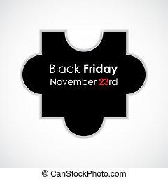testo, puzzle, venerdì, illustrazione, vettore, nero,...