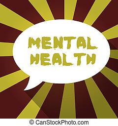 testo, segno, esposizione, mentale, health., concettuale, foto, psicologico, e, emotivo, wellbeing, condizione, di, uno, dimostrare