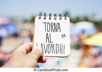 testo, torna, al, lavoro, indietro, lavorare, in, italiano