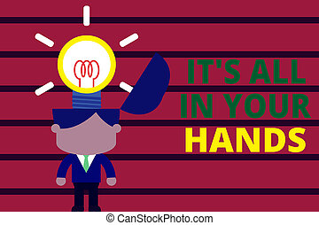testo, tutto, surging, hands., esso, parola, solutions.,...
