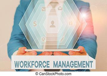 testo, uso, management., forza lavoro, parola, optimize, produttività, relativo, employees., scrittura, concetto, affari