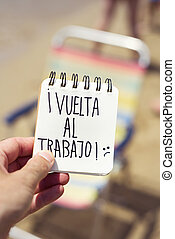 testo, vuelta, al, trabajo, indietro, lavorare, in, spagnolo
