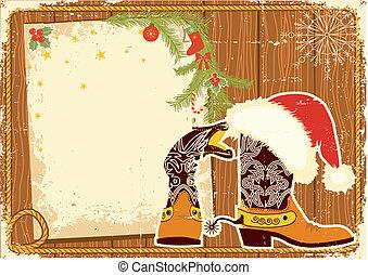 testo, wall., fondo, legno, santa, tabellone, cappello, vettore, natale, stivali cowboy, cornice, rosso