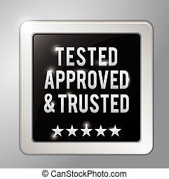 testowany, zatwierdzony, i, trusted, skwer