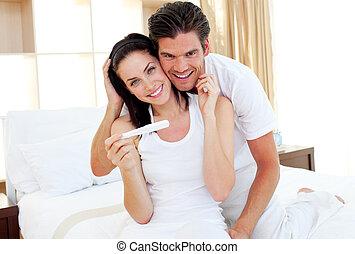 testresultaten, stralend, zwangerschap, uit, paar, bevinding