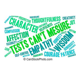 Tests Cant Measure word cloud on a white background.