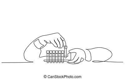 tests., coronavirus, símbolo, médico, analizar, personal,...
