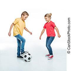 testvér, játék, noha, focilabda