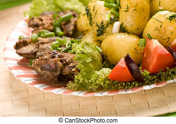 testy dish - Cooked potatoes with fried liver decorated ...