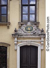 tesvikiye, ornamental, estilo, puerta, histórico, estambul, mosque., él, /, arriba, nisantasi, otomano, sobre, neo-barroco, emblema, cierre, empire's, estructura, vista